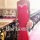Sweetheart Red Prom Dress,Mermaid Sheath Prom Dresses