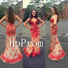 Sweetheart Mermaid Prom Dress,Lace Applique Prom Dresses