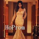Long Sleeve Tight Prom Dress,Mermaid Lace Prom Dresses