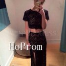 Two Pieces Short Sleeve Prom Dress,Black Lace Prom Dresses