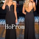 Spaghetti Straps Prom Dress,Black Long Open Back Prom Dresses