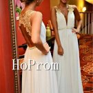 V-Neck White Prom Dress,Backless Chiffon Deep V Neck Prom Dresses