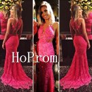 Cross Back Prom Dress,Pink Lace Sexy Prom Dresses