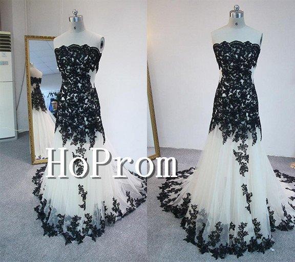 Strapless Applique Prom Dress,Floor Length Prom Dresses