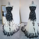 Strapless Applique Prom Dress,Floor Length Prom Dresses