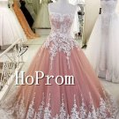 A-Line Lace Appliques Prom Dress,Floor Length AProm Dresses