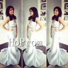 Sleeveless Mermaid White Prom Dress,Floor Length Prom Dresses