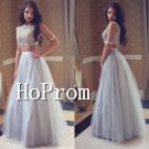 Two Piece Sexy Prom Dress,Beading Long Tulle  Dresses