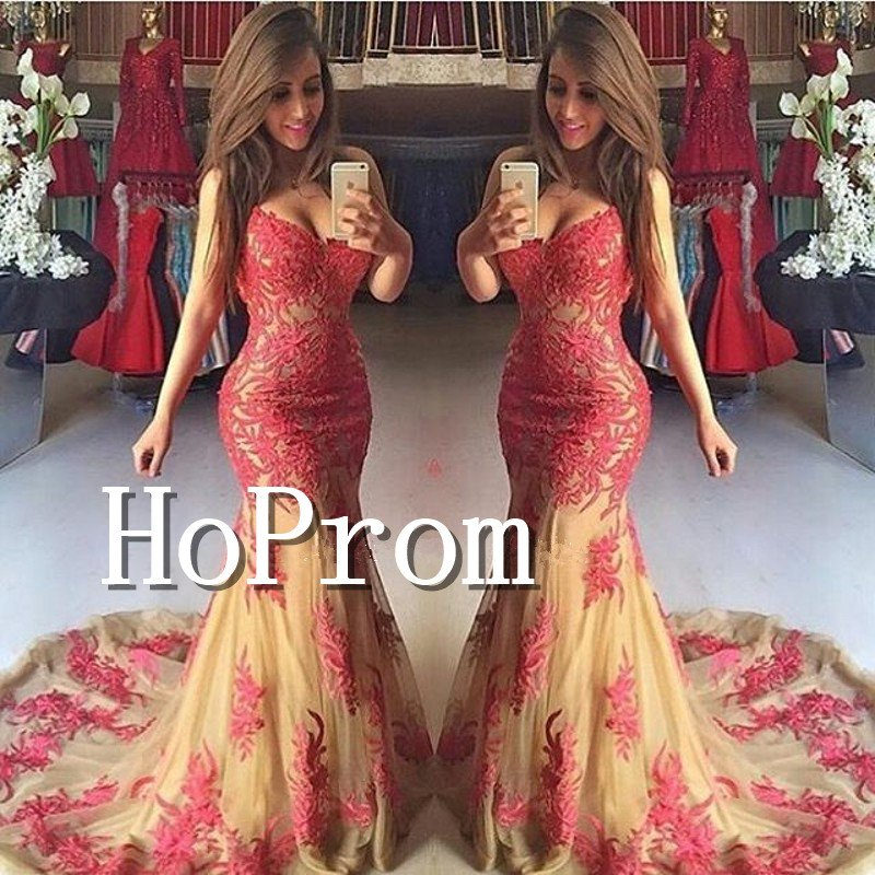 Elegant Mermaid Prom Dress,Lace Applique Sexy Prom Dresses