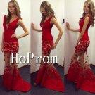 Sleeveless Red Prom Dress,V-Neck Long Prom Strapless Dresses
