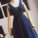 Appique Beading Homecoming Dress, Navy Blue Strapless Prom Dress