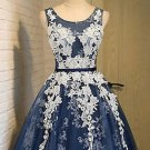 Neck Navy Blue Homecoming, A-Line Round Short Prom Dress with Appliques