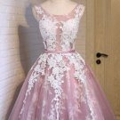 Appliques Tulle Pink Homecoming Dresses