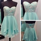 Mint Sweetheart Homecoming Dress with Sparkle Appliques
