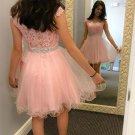 Pink Beading Homecoming Dress, Cute A line Lace Short Prom Dresses