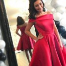 Hot Red Homecoming Dress, Off the Shoulder Short Prom Dresses