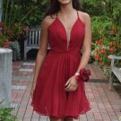 Hot Red Chiffon Simple Homecoming Dresses with Straps