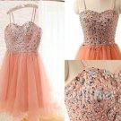 Crytal Homecoming Dress, Sweet Orange Tulle Short Prom Dress
