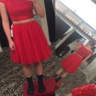 Cap Sleeve Two Piece Homecoming Dress, Hot Red Sparkly Homecoming Dresses