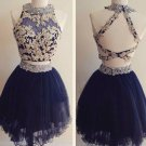 Two Piece Beading Navy Blue Homecoming Dresses
