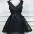 Lace Beaded Homecoming Dress, V-neck Black Short Prom Dresses