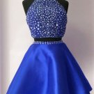 Two Piece Crystal Homecoming Dress, Royal Blue Halter Short Prom Dress