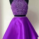 Two Piece Crystal Homecoming Dress, Elegant Purple Halter Short Prom Dress