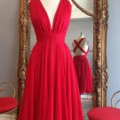 Handmade Short Red Simple Dress Chiffon Backless Cross Homecoming Dresses