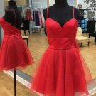 Red Short Tulle Simply Straps Homecoming Dress