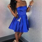 Royal Blue Short Strapless Homecoming Dress with Pockets