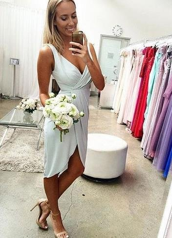 Light Blue Short Short V Neck Chiffon Homecoming Dress Bridesmaid Dress