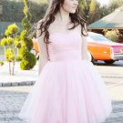 Pink Tulle Short Strapless Homecoming Dress Evening Dress