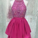 Hot Pink Short Sparkly High Neck Homecoming Dress with Open Back