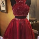 Two Piece Sparkly Short Red Tulle Homecoming Dress
