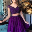 Two Piece Special Purple Short Lace Homecoming Dress