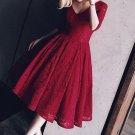 Short Lace Homecoming Dress, Burgundy V-neck Prom Dresses