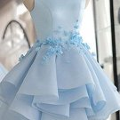 Scoop Neck Flowers Homecoming Dress, Sky Blue A-line Prom Dress