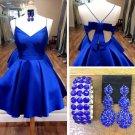Bow Back Royal Blue Homecoming Dress, Cute Short Prom Dresses