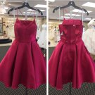 V-neck Burgundy Homecoming Dress, Deep Short Prom Dresses