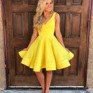 Yellow Homecoming Dress, Deep V-neck Short Cute Party Dresses