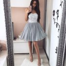 Short Homecoming Dress with Lace Applliques, Gray Tulle Homecoming Dresses