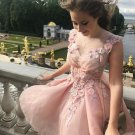 Cute Short Flowers Homecoming Dresses, Elegant Pink Prom Dress