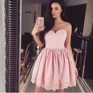 Satin Homecoming Dress, Sweetheart Pink Short Homecoming Dresses