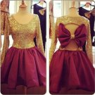 Long Sleeve Homecoming Dress, Gold Sequins Bow Back Cute Prom Dress