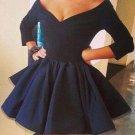 Long sleeves V-neck Off Shoulder Homecoming Dresses