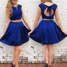 Royal Blue Two Piece Homecoming Dress with Open Back