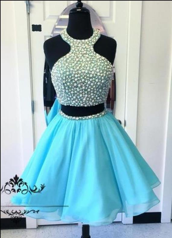 Blue Two Piece Homecoming Dress with Beads