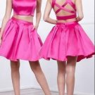 Pink Criss Cross Back Two Piece Homecoming Dress
