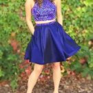 Royal Blue Beads Homecoming Dress, Two Piece Homecoming Dress with Pockets