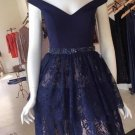 Short Prom Lace Homecoming Dress, Navy Blue Dress